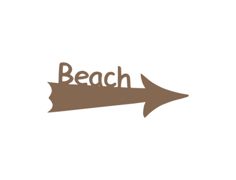 beach sign arrow bronze