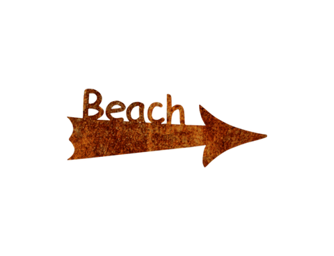 Beach and  Arrow Metal Free Form Sign