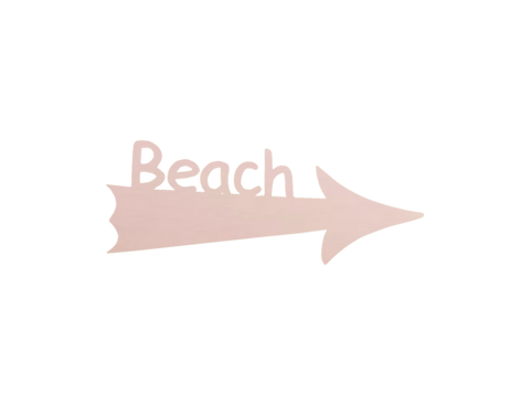 Image of beach sign arrow rose gold