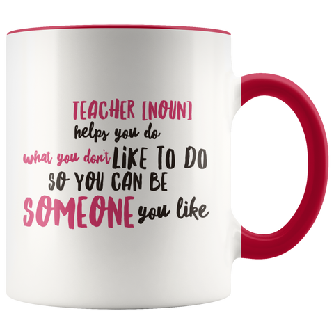 teacher appreciation custom white mug red handle