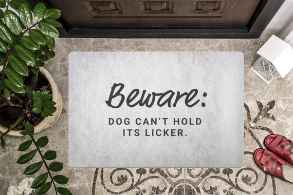 Friendly Dog Beware Welcome Mat