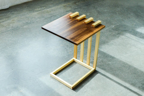 Image of Walnut and Maple Floating Side Table