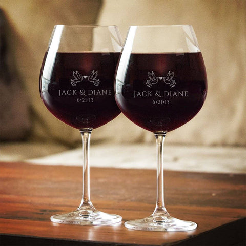 Image of Wedding Anniversary Couples Personalized Red Wine Glass