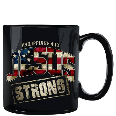 Image of Jesus Strong Christian U.S. Flag Black Mug