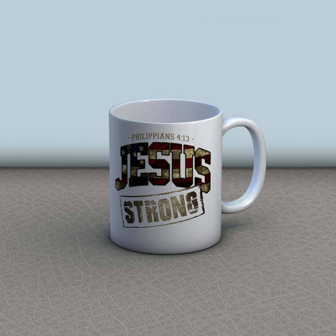 Image of Jesus Strong Christian U.S. Flag Mug