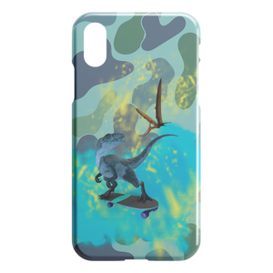 T-Rex On Skateboard Dinosaur Camo iPhone Case