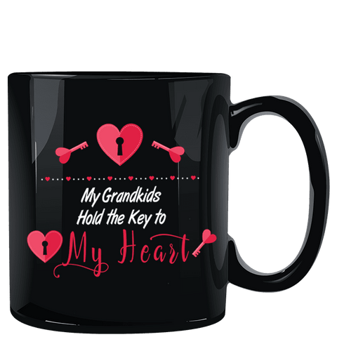 Image of My Grandkids Hold the Key to My Heart Black Mug