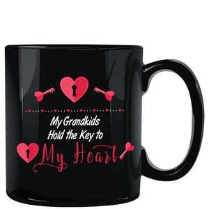 My Grandkids Hold the Key to My Heart Black Mug