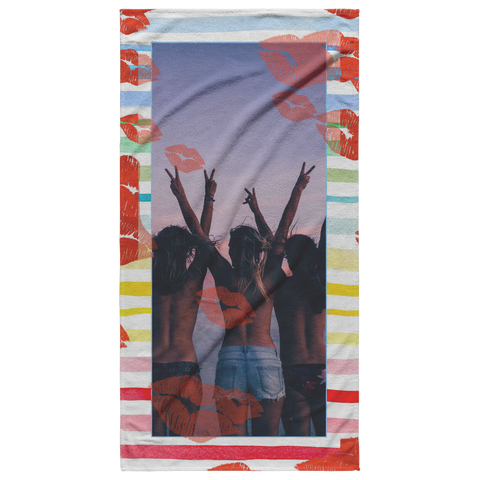 Image of photo beach towel kisses stripes