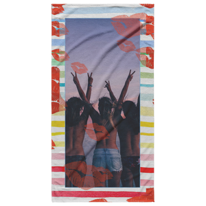 photo beach towel kisses stripes