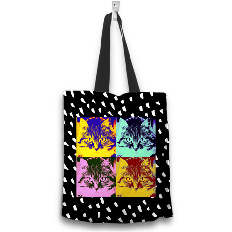 Image of Tabby Cat Face Print Tote Bag Back View