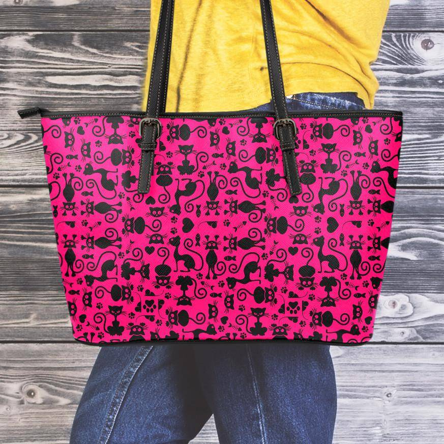 Cats Pink Large Vegan Leather Tote