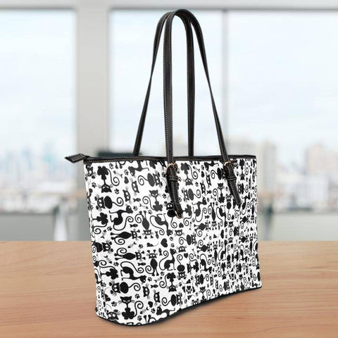 Cats White Large Vegan Leather Tote