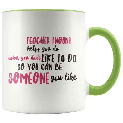 Image of teacher appreciation custom white mug green handle