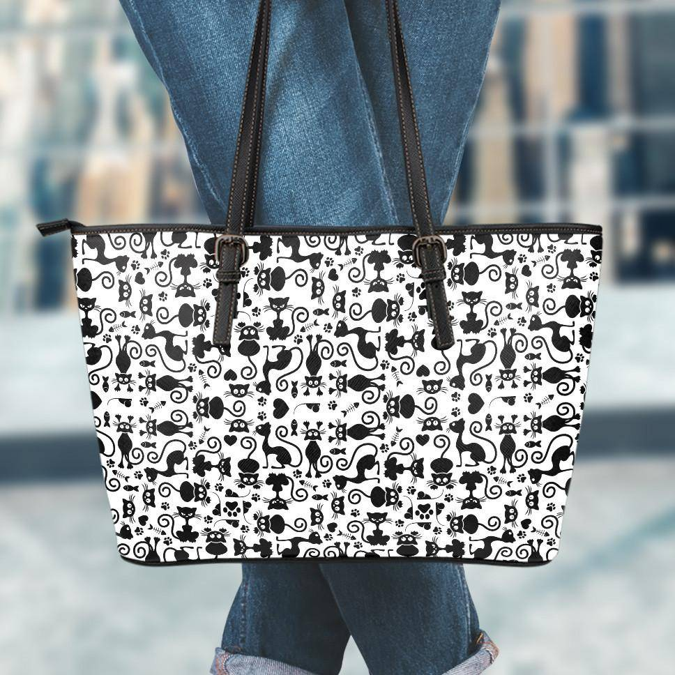 Cats White Small Vegan Leather Tote