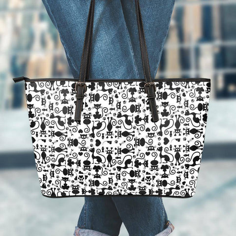 Image of Cats White Small Vegan Leather Tote