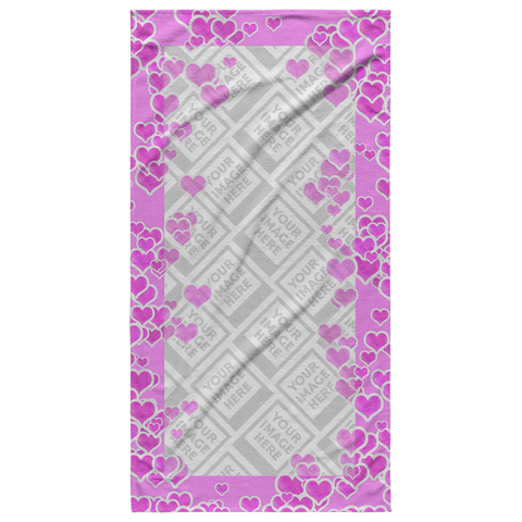 Image of Pink Hearts Personalized Photo Beach Towel