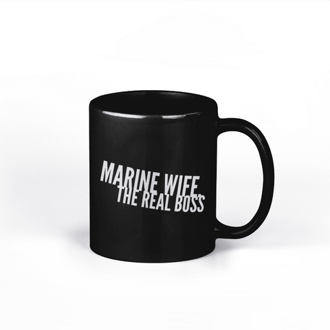 Image of Marine Wife the Real Boss Coffee Mug - Black
