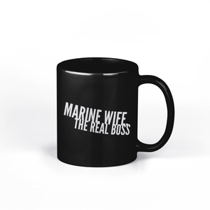 Marine Wife the Real Boss Coffee Mug - Black