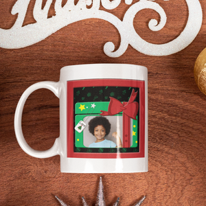 personalized holiday photo coffee cup