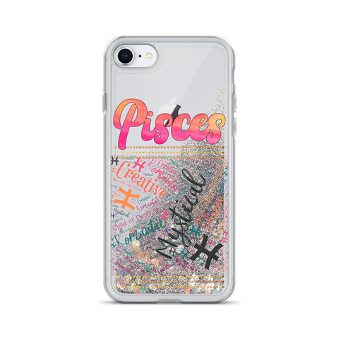 Pisces Traits Word Art Liquid Glitter Phone Case