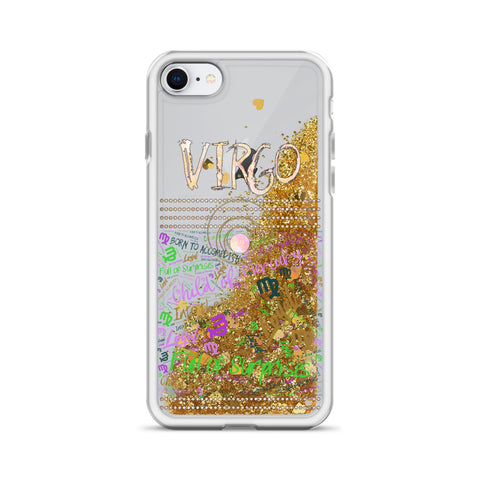 Image of Virgo Astrology Liquid Glitter iPhone Case