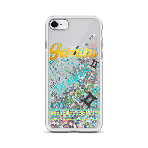 Gemini Traits Word Art Liquid Glitter iPhone Case