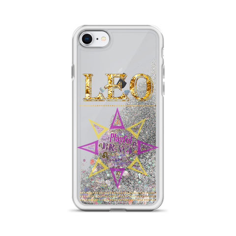 Image of Leo Star Sign Word Art Liquid Glitter iPhone Case