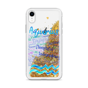 Aquarius Traits Liquid Glitter iPhone Case