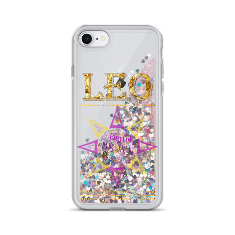 Leo Star Sign Word Art Liquid Glitter iPhone Case
