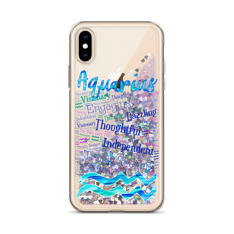 Image of Aquarius Traits Liquid Glitter iPhone Case