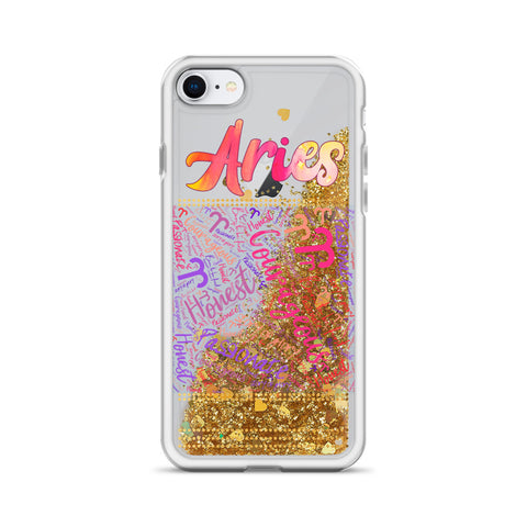 Image of Aries Star Sign Liquid Glitter Phone Case