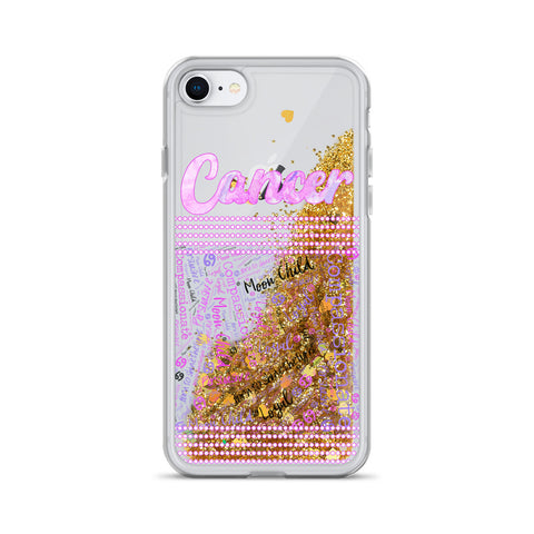 Cancer Astrology Traits Liquid Glitter Phone Case
