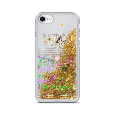 Virgo Astrology Liquid Glitter iPhone Case