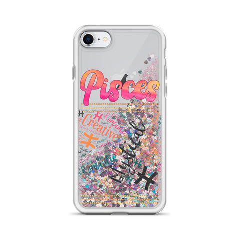 Image of Pisces Traits Word Art Liquid Glitter Phone Case