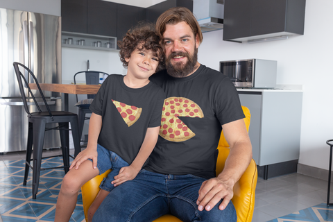 pizza and slice dad kid t-shirts