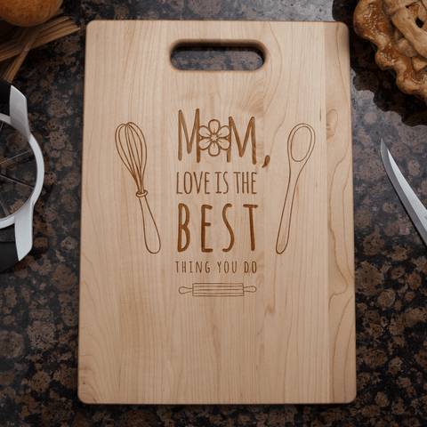 Image of Mom's Love Personalized Cutting Board Add Names
