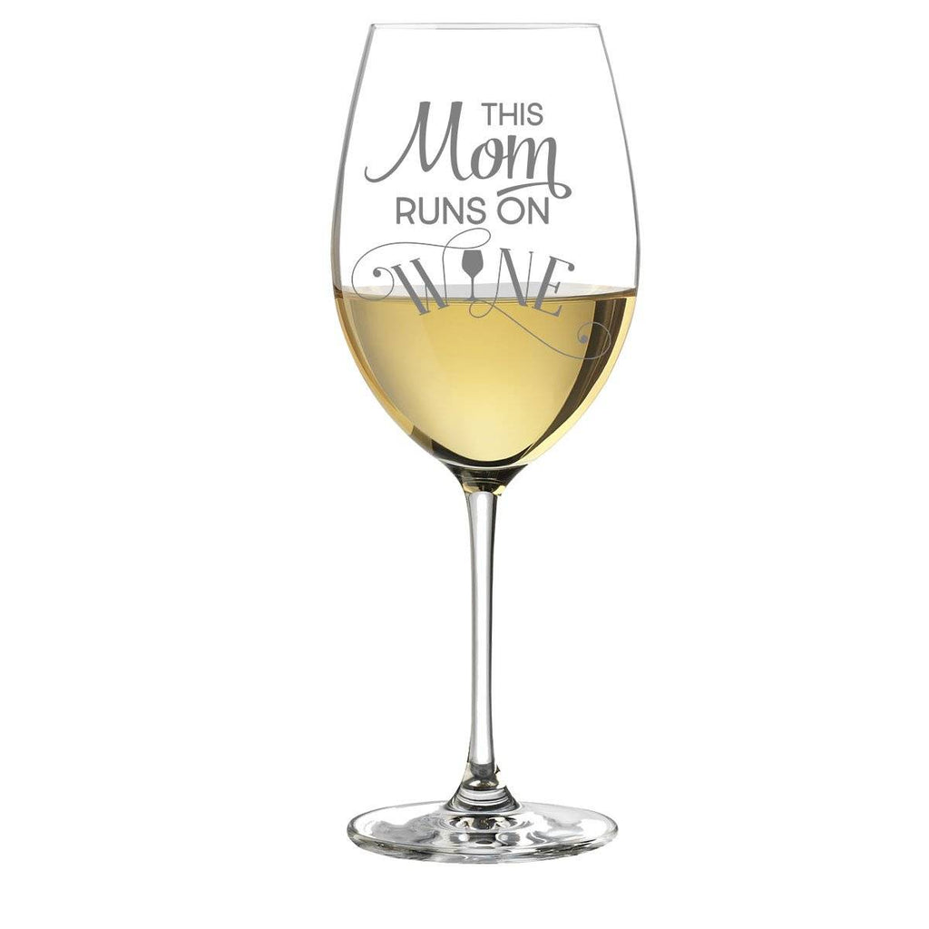 This Mom Runs On Wine White Wine Glass Gift
