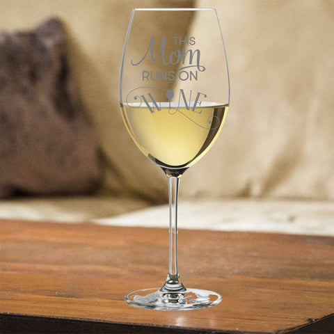 Image of This Mom Runs On Wine White Wine Glass Gift