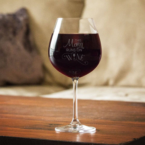 This Mom Runs On Wine Red Wine Glass Gift