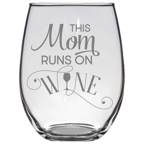 Image of This Mom Runs On Wine Stemless Wine Glass Gift