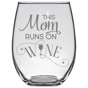 This Mom Runs On Wine Stemless Wine Glass Gift
