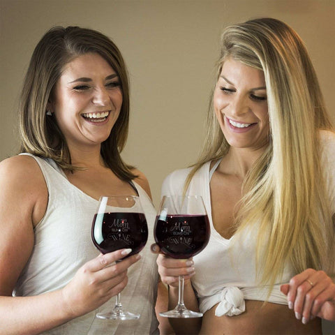 Image of This Mom Runs On Wine Red Wine Glass Gift