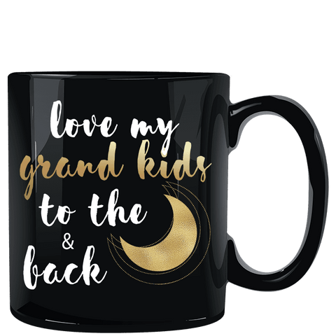 Love My Grandkids to the Moon and Back Black Mug