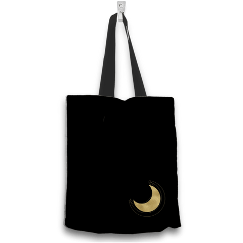 Image of Love My Grandkids to the Moon and Back Gold and Black Tote Bag Two Sides Two Designs