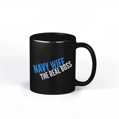 Image of Navy Wife Mug Navy Wife The Real Boss Black Mug Gift