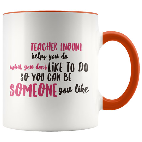 teacher appreciation custom white mug orange handle