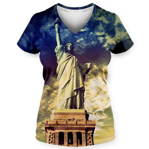 Statue of Liberty Allover Print Ladies V-Neck T-Shirt