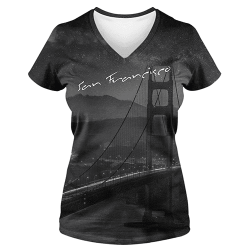 San Francisco Black and White Allover Print Ladies V-Neck T-Shirt