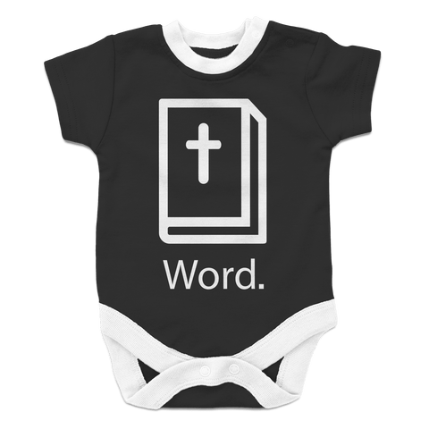 Christian 'Word' baby one piece black and white